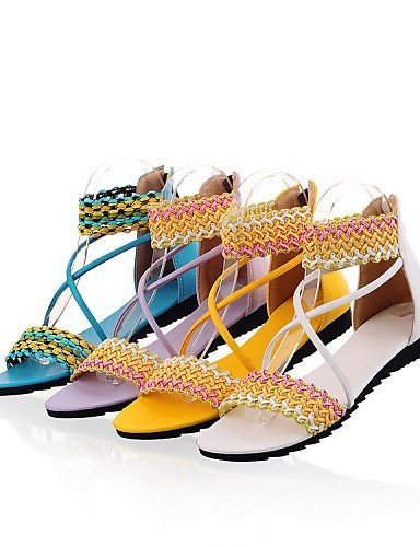 Purple Yellow Yellow Toe Blue ShangYi Open Heel Casual Dress White Women's Sandals Flat Leatherette Shoes Zw7P6q