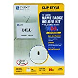 C-Line Clip Style Name Badge Holders, 3.5 x 2.25 Inches, Clear, 50 per Box (95523)