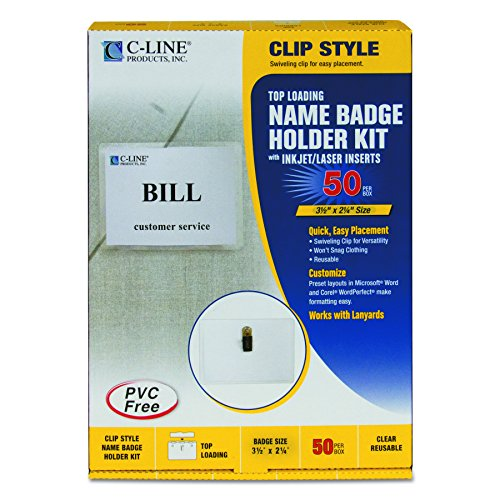 C-Line 95523 Name Badge Kits, Top Load, 3 1/2 x 2 1/4, Clear (Box of 50) Vinyl Tag Holder Top Load