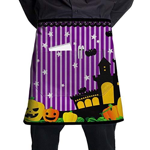 NBteach Cute Halloween Theater South Lights Bat Castle Utility Activity Toolbelt Work Best Mini Prime Supply Customize Half Waist Cooking Apron with Pockets for Kids Teacher