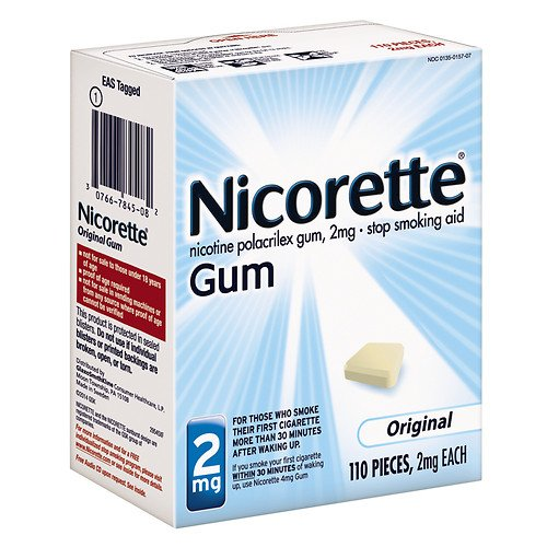 Nicorette Nicotine Gum, 2mg, Original 110 ea Pack of 6