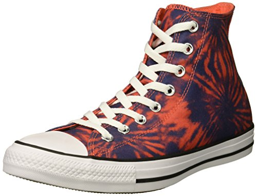 Converse Men's Chuck Taylor All Star Tie Dye High Top Sneaker, Rush Coral/Navy/White, 10 M US All Star Multi Eyelet