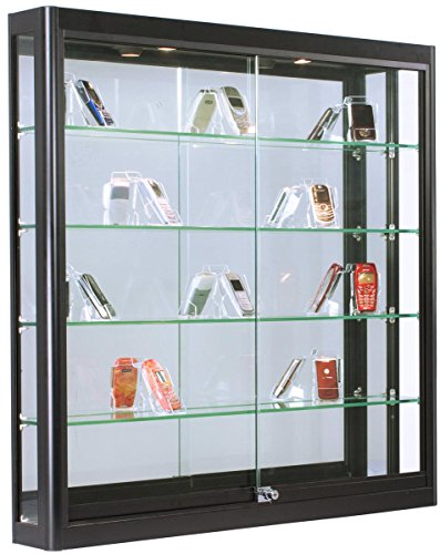 - Displays2go Illuminated Showcase for Wall Mount, LED Top Lighting, 4 Tempered Glass Shelves - Black (WC396LEDB)