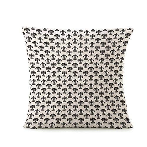Fleur De Lis Fashionable Pillow Cover,Historical European Heraldry Symbol with Rich Iris Buds and Curved Leaves Decorative for Throw Pillow,16.5
