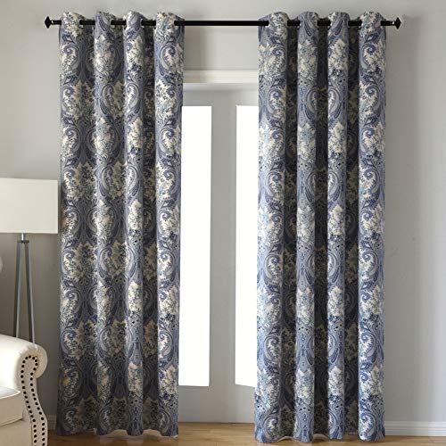 Blue Botanical Fern Leaves Pattern Design Living Blackout Curtains with Fabric Digital Printing Polyester, Grommet Solid Thermal Insulated Window Draperies for Bedroom (2 Panels, 52 x63 Inches)