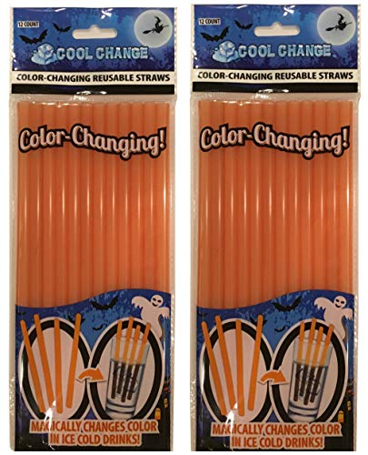 Cool Change Color Changing Straws (2 Packages) Orange to Black -