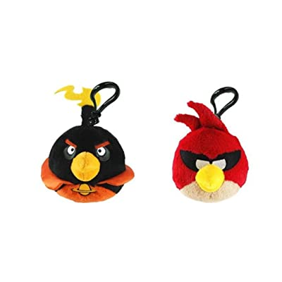 "Angry Bird Space Plush Clip Set - Red And Black Birds 3"" Plush Clip On (2 pc): Toys & Games"