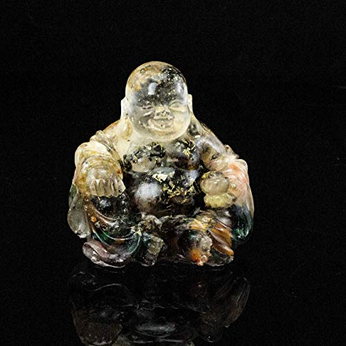 Energy Filled Crystal Laughing Buddha Resin and Embedded Crystals Manifestation Metaphysical Properties #87 -