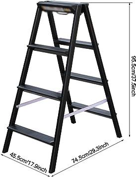 QFFL Escalera de 3 Escalones, Estructura de Aluminio Liviana Multiusos - Pies Antideslizantes - Diseño Plegable Fácil de Guardar - Ideal para Hogar/Cocina/Garaje Escaleras de mano: Amazon.es: Bricolaje y herramientas