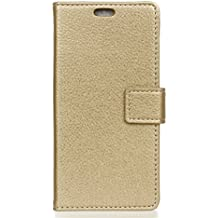 Alcatel A3 Plus Case,Gift_Source [Photo/Card Slots] [Wallet Function] Premium Soft PU Leather Folio Flip Kickstand Protective Cover Case & Magnetic closure for Alcatel A3 Plus (5.5 inch) [Gold]