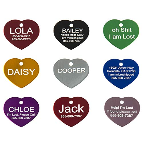 Aluminum Pet ID Tags - Engraved Personalized Dog Tags, Cat Tags Front & Back up to 8 Lines of Text - Bone, Round, Heart, Flower, Paw, House, Star, Rectangle,Shirt, Cat, Mouse - Engraved Heart Tag