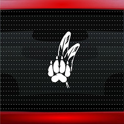Wolf Paw #2 Indian Native American Car Sticker Truck Window Vinyl Decal COLOR: BLACK -