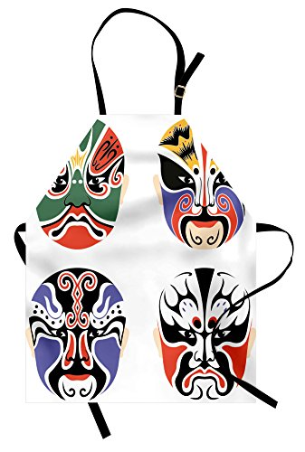 Ambesonne Kabuki Mask Apron, Traditional Chinese Cultural Opera Mask Composition Asian Tribal Art Theme, Unisex Kitchen Bib Apron with Adjustable Neck for Cooking Baking Gardening, Multicolor