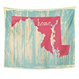 TOMPOP Tapestry Pride Maryland Nostalgic Rustic Vintage State Sign America American Home Decor Wall Hanging for Living Room Bedroom Dorm 50x60 Inches