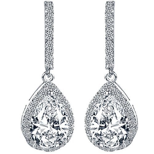 EleQueen Women's Silver-tone Cubic Zirconia Tear Drop Bridal Dangle Pierced Earrings Clear by EleQueen