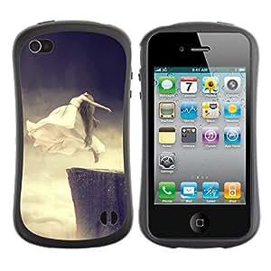 Suave TPU GEL Carcasa Funda Silicona Blando Estuche Caso de protección (para) Apple Iphone 4 / 4S / CECELL Phone case / / Flying Ghost Jump Cliff Base Woman Art White /