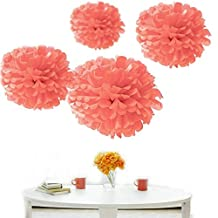 Kubert® Party Tissue Paper Pom-poms Flower Ball, CORAL Party Tissue Paper Pom Poms Flower Ball Wedding Bridal Shower Party Decoration of 8, 10, 14-Inch, 12 Pieces by Kubert