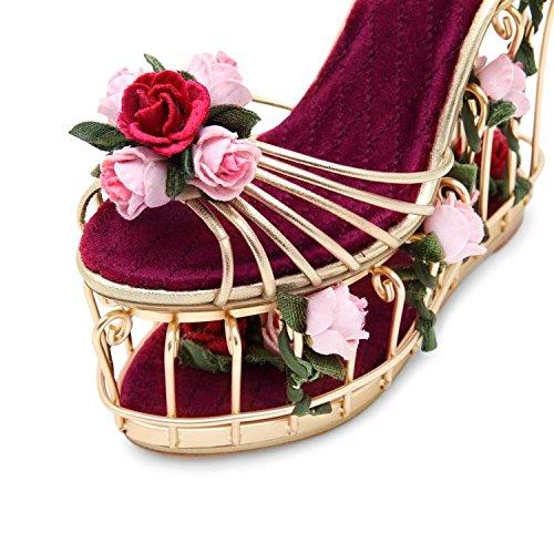 De la Mujer Luz de alta Art metal dorado jaula de agua Hollow rosa en jardín High Heels tacón Sandalias