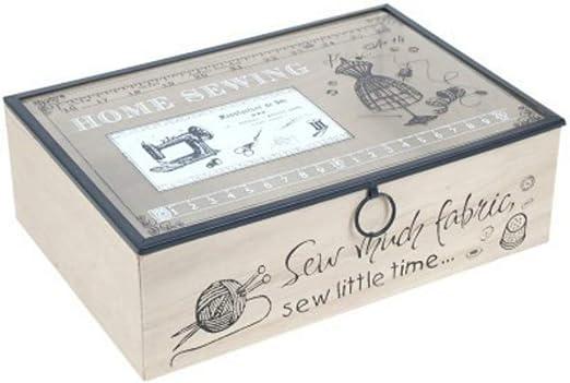 CAPRILO. Caja Costura Decorativa de Madera y Cristal Home Sewing. Costureros. Cajas Multiusos. Regalos Originales. Decoración Hogar. 8 x 25 x 17 cm.: Amazon.es: Hogar