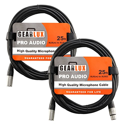 Gearlux XLR Microphone Cable Male to Female 25 Ft Fully