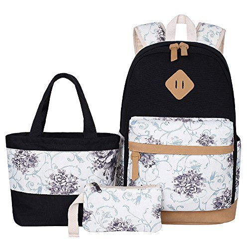 f6f56b730365 School Bags Teen Girls Backpacks Lightweight Laptop Rucksacks in Fashion  Style (Big Floral - Black)
