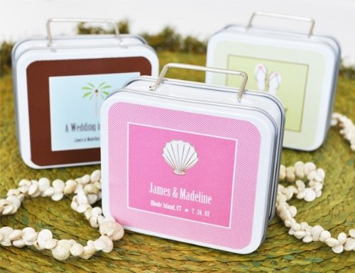 Personalized Suitcase Favor Tins - Love to Travel Personalized Theme Suitcase Tins - Total 48 items