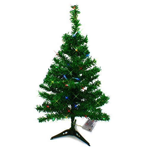Wideskall Tabletop Green Christmas Pine Tree with Multi-Color 30 LED Lights, 2 Feet (1 Ft Artificial Christmas Tree)