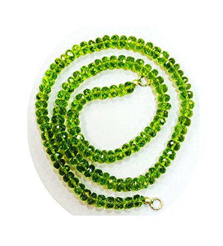 Apatite Necklace Peridot (Dark Green Peridot Gem Stone Faceted Beads lines Necklace,17