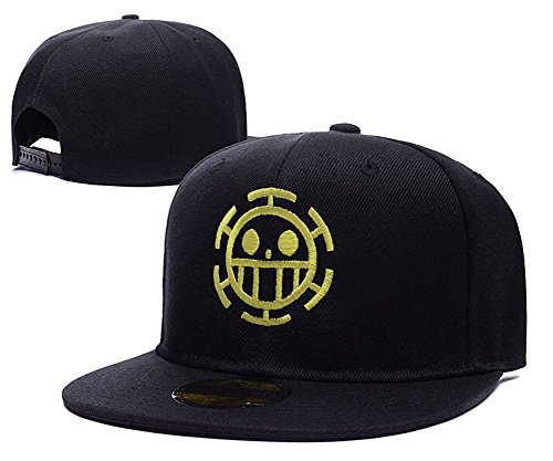 Anime One Piece Trafalgar Law Logo Adjustable Snapback Caps Embroidery Hats - Black/Yellow (Lady Zoro)