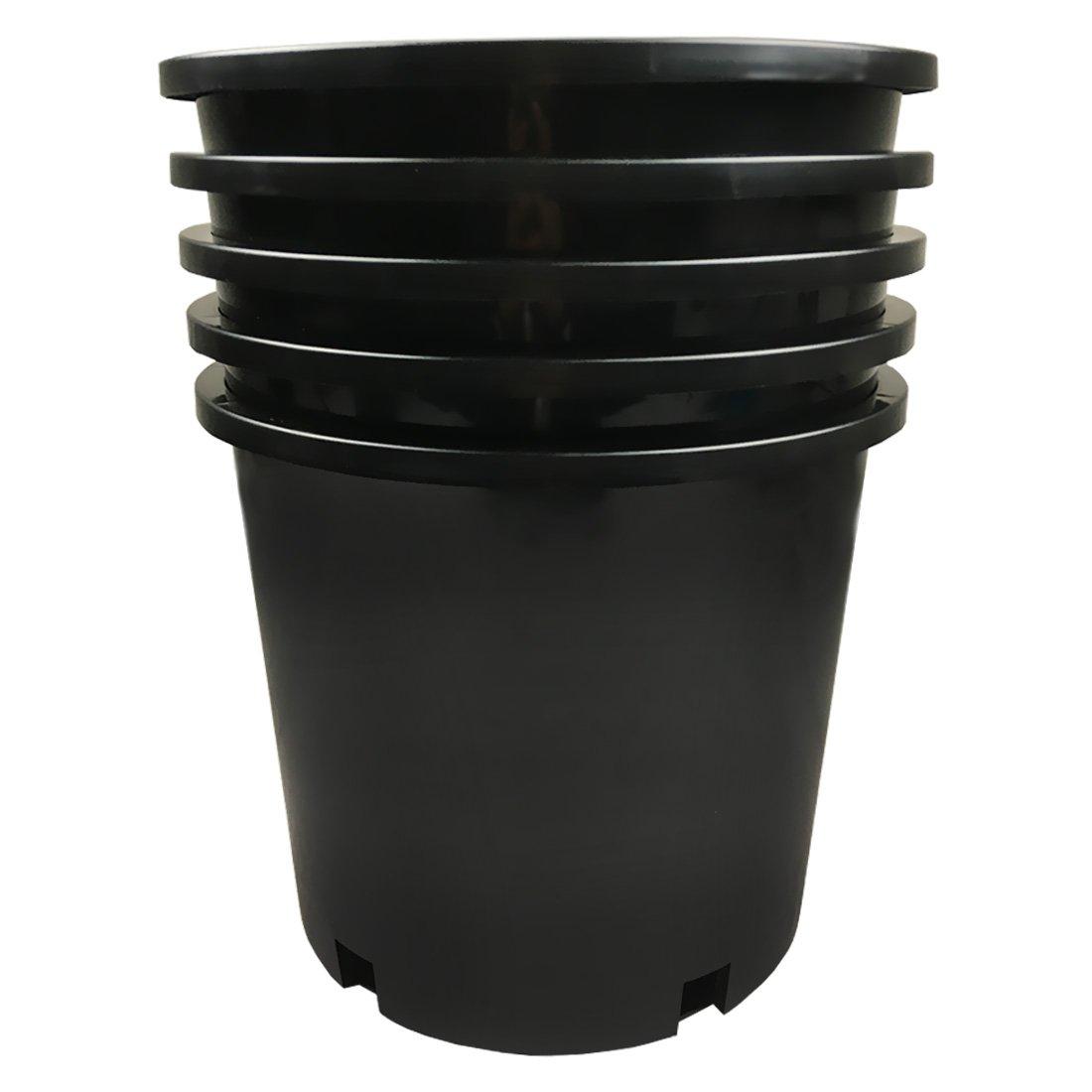 Calipots 5-Pack 5 Gallon Premium Black Plastic Nursery Plant Container Garden Planter Pots (5 Gallon)