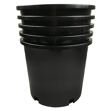 Amazon calipots 5 pack 5 gallon premium black plastic nursery calipots 5 pack 5 gallon premium black plastic nursery plant container garden planter pots workwithnaturefo