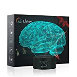Brain 3D Night Light Table Desk Lamp, Elstey 7 Colors Optical Illusion Touch Control Lights with Acrylic Flat & ABS Base & USB Cable for Christmas Gift