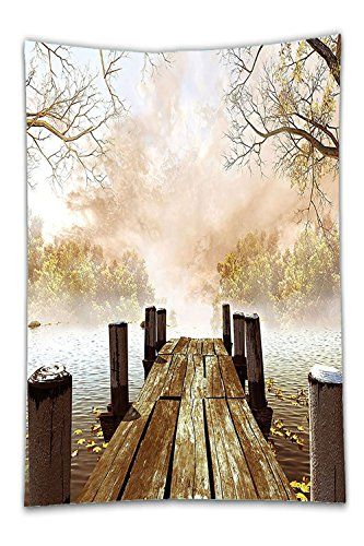 Beshowereb Fleece Throw Blanket Fall Wooden Dock Bridge Pier Enchanted Nature Fairy Tale Mystic Design Autumn Season Printed Art Living Room Bedroom Dorm Decor Beige Brown - Pier Park Miami