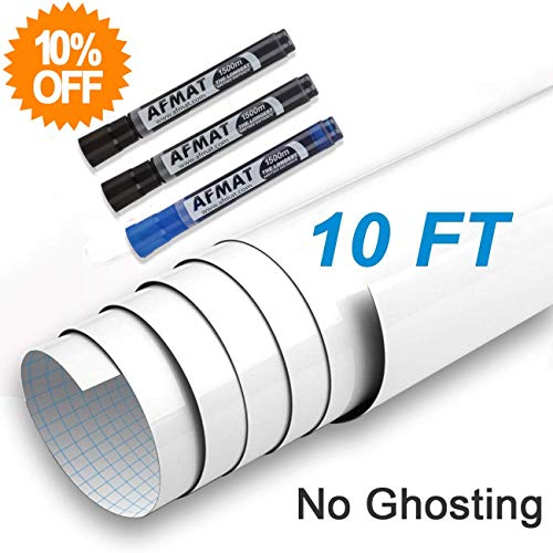 AFMAT Dry Erase Paper, No Ghosting Dry Erase Wall Sticker, White Boards for Wall, White Board Paper for Tables, Doors, Chalkboards, Whiteboards, Super Sticky, Stain-Proof, 3 Free Markers-1.5 x 10 ft