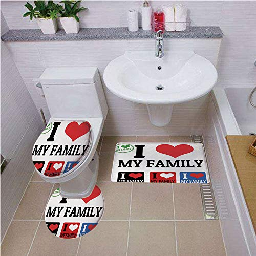 Bath mat set Round-Shaped Toilet Mat Area Rug Toilet Lid Covers 3PCS,Family,Signs and Labels I Love My Family Emblems Stamp Colorful Retro Classic Composition,Multicolor ,Bath mat set Round-Shaped - Sign Neon England New Patriots