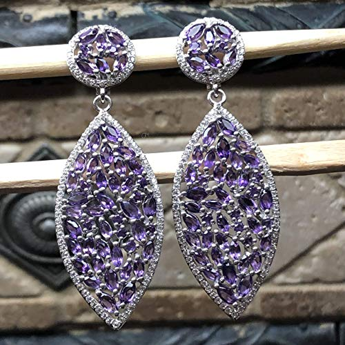 - Estate Natural 30ct Purple Amethyst, White Sapphire 925 Solid Sterling Silver Dangle Earrings 65mm Long
