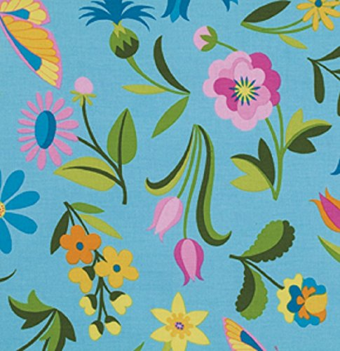 Sweet Jane Collection (1 Yard Sweet Lady Jane by Jane Sassaman from Free Spirit Party Frock Cotton Quilt Fabric PWJS055 Teal)