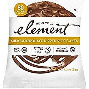 ELEMENT, Rice Cake, Og2, Milk Choc, Pack of 8, Size 1.2 OZ, (Low Carb Gluten Free Kosher Low Sodium Vegan Wheat Free Yeast Free 95%+ Organic) (Chocolate No Salt Milk)