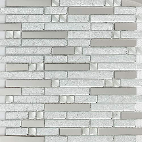 - Hominter 11-Sheets Silver Stainless Steel and Clear Glass Tile, Crystal Rhinestone Mosaic, Random Interlocking Patterns for Kitchen/Bathroom/Accent Wall YG002
