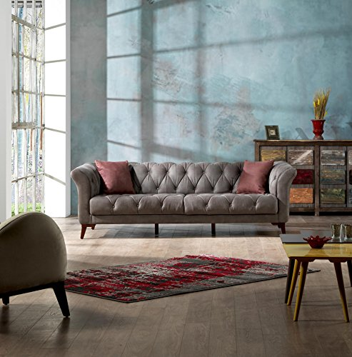 Mare Collection Vega Mid-Century Modern Tufted Chesterfield 3 Seater Sofa Smoke (Vegas Sofa Collection)