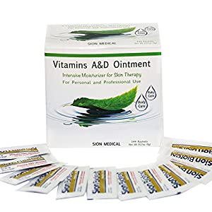 Baby Diaper Rash Ointment By Sion Biotext: Vitamin A & D First Aid Protectant Healing Cream For Dry & Irritated Skin, Cuts, Burns Soothing Baby Care Medical Moisturizer. Intensive Therapy 144 packets