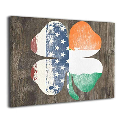 Robprint Retro Shamrock Irish American Flag Wall Pictures Artworks Pictures Wall Decor for Living Room Bedroom Bathroom Ready to Hang 20 X 16 Inch ()
