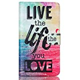 LG G Stylo Case, Lin Shop@ Premium PU Leather Flip Folio Style Wristlet Wallet Pouch Phone Case with Credit/ID Card Cash Slot for LG G Stylo,LS770 (live life love)