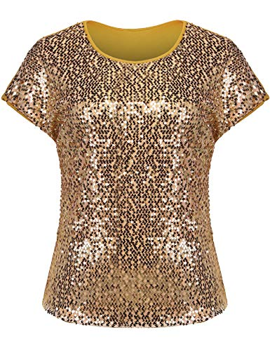 Sparkle Knit Top - IN'VOLAND Women's Sequin Tops Plus Size Round Neck Sparkle Top Shimmer Glitter Short Sleeve T-Shirt Gold