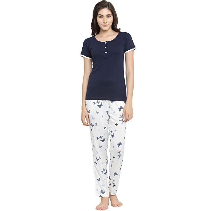 1c5dc59065 Claura Butterfly Print Blue and White Women Cotton Night Suit Or Top    Pyjama Set-
