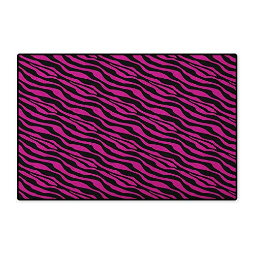 Pink Zebra,Door Mats for Inside,Wild Zebra Background Stripes Savannah African Exotic Youth Culture Hippie,3D Digital Printing Mat,Magenta Onyx,Size,20