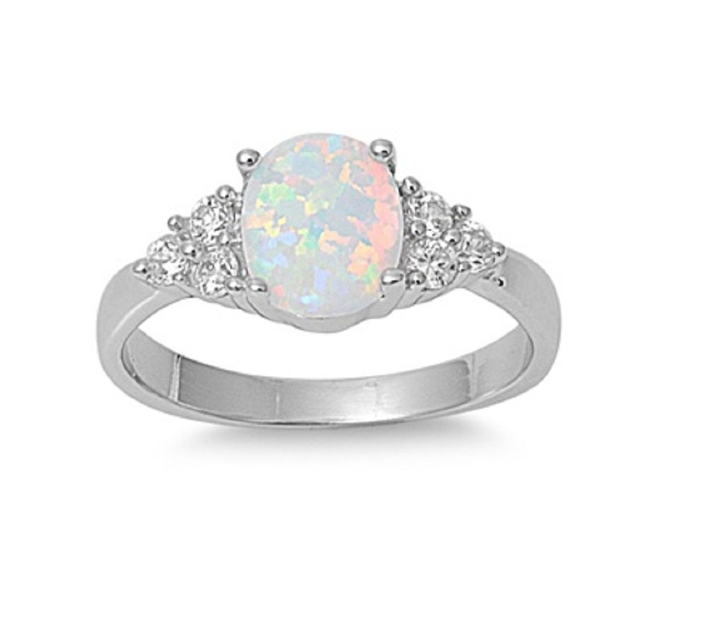 CloseoutWarehouse Oval Center White Simulated Opal Ring 925 Sterling Silver Size 13