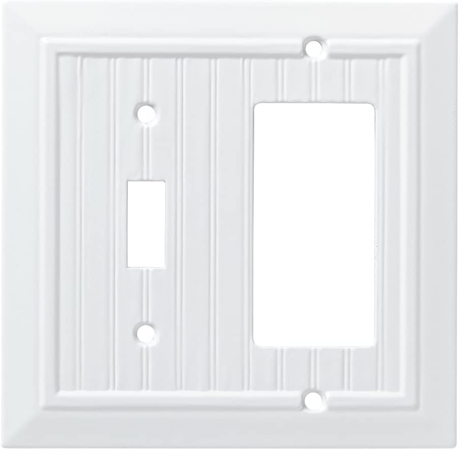 Franklin Brass W35270-PW-C Classic Beadboard Switch/Decorator Wall Plate/Switch Plate/Cover, Pure White