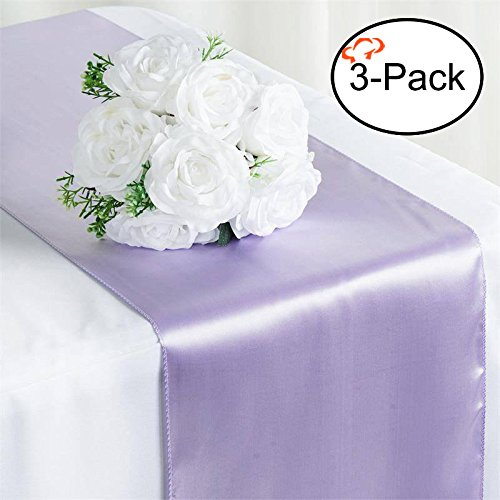 Tiger Chef 3-Pack Lavender 12 x 108 inches Long Satin Table Runner for Wedding, Table Runners fit Rectange and Round Table Decorations for Birthday Parties, Banquets, Graduations, Engagements - Purple Stripe Satin