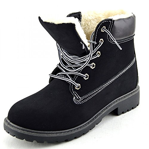 Womens Combat Lace Footwear Ankle up Casual Black Boots With Fur Flat Kick Walking AqO8Fn18